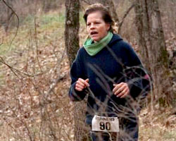 Photo of Lori Lange at the Clinton Cross Country Challenge.