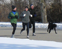 Photo of the December 30th run included John Frydman's dog, Timmy.