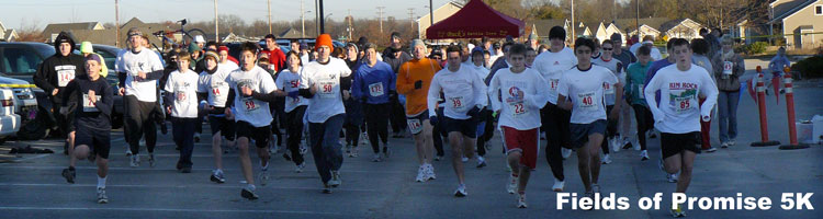 Photo of the start of the Fields of Promise 5K.