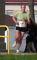 photo of Whitney Pilkington, female winner of the Lawrence Half Marathon.