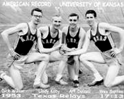 Photo of the 1953 world record 4 mile relay team.