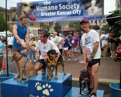 Photo of Spanl and Keith Dowell from the June 13th Dog n Jog 2 Mile.