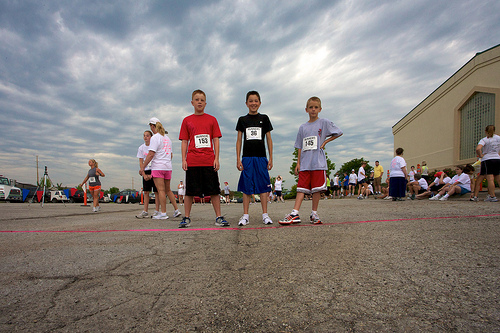 Photo of 3 boys at start of Legacy Run in Lawrence KS on June 5, 2010.