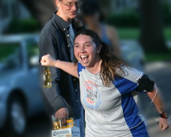 Photo of the beer grab at the Cinco de Mayo run put on by the Kansas City Track Club.
