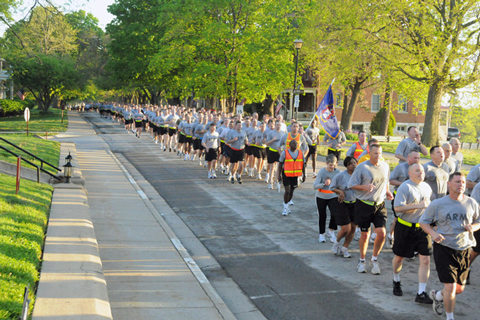 Photo of formation run at Ft Leavenworth on May 6, 2011.