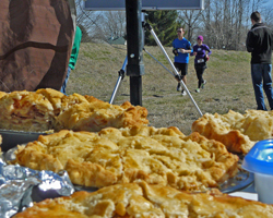 Photo of pies at the finish area of the Pi Day River Rotation Half Marathon on March 4, 2012.