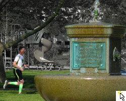 Photo of the South Park fountain on the May 11th Hope for Healing 5K.  And link to Flickr slideshow.