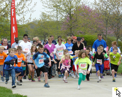 Start of the Sunflower Marathon Club 5K on Sunday, May 5, 2013 at the CLinton Lake Softball Complex.